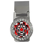 Star Checkerboard Splatter Money Clip (CZ)
