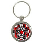 Star Checkerboard Splatter Key Chain (Round)