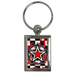 Star Checkerboard Splatter Key Chain (Rectangle)