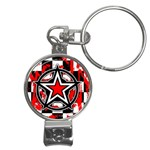 Star Checkerboard Splatter Nail Clippers Key Chain