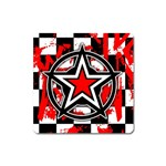 Star Checkerboard Splatter Magnet (Square)