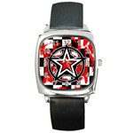 Star Checkerboard Splatter Square Metal Watch