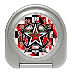 Star Checkerboard Splatter Travel Alarm Clock