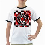 Star Checkerboard Splatter Ringer T