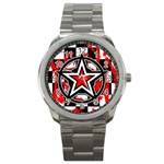 Star Checkerboard Splatter Sport Metal Watch