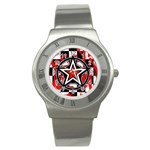 Star Checkerboard Splatter Stainless Steel Watch