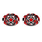 Star Checkerboard Splatter Cufflinks (Oval)