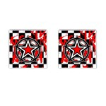 Star Checkerboard Splatter Cufflinks (Square)
