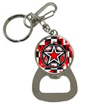 Star Checkerboard Splatter Bottle Opener Key Chain