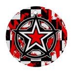 Star Checkerboard Splatter Round Ornament (Two Sides)