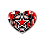 Star Checkerboard Splatter Rubber Coaster (Heart)
