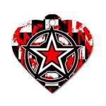 Star Checkerboard Splatter Dog Tag Heart (One Side)