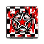 Star Checkerboard Splatter Memory Card Reader with Storage (Square)