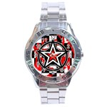 Star Checkerboard Splatter Stainless Steel Analogue Men's Watch