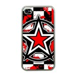 Star Checkerboard Splatter Apple iPhone 4 Case (Clear)