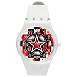 Star Checkerboard Splatter Round Plastic Sport Watch Medium