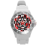 Star Checkerboard Splatter Round Plastic Sport Watch Large