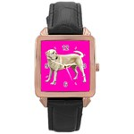 Use Your Dog Photo Labrador Rose Gold Leather Watch
