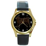 Use Your Dog Photo Labrador Round Gold Metal Watch