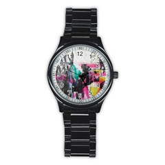 Graffiti Grunge Men s Stainless Steel Round Dial Analog Watch from ArtsNow.com Front