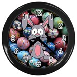 Easter Egg Bunny Treasure Wall Clock (Black)