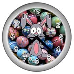 Easter Egg Bunny Treasure Wall Clock (Silver)