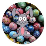 Easter Egg Bunny Treasure Magnet 5  (Round)