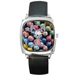 Easter Egg Bunny Treasure Square Leather Watch