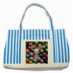 Easter Egg Bunny Treasure Blue Striped Tote Bag