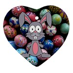 Easter Egg Bunny Treasure Heart Ornament (Two Sides)