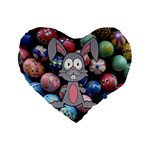 Easter Egg Bunny Treasure 16  Premium Heart Shape Cushion