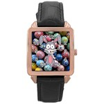 Easter Egg Bunny Treasure Rose Gold Leather Watch
