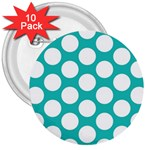 Turquoise Polkadot Pattern 3  Button (10 pack)