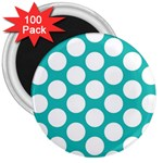 Turquoise Polkadot Pattern 3  Button Magnet (100 pack)