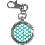 Turquoise Polkadot Pattern Key Chain Watch