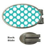 Turquoise Polkadot Pattern Money Clip (Oval)