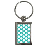 Turquoise Polkadot Pattern Key Chain (Rectangle)