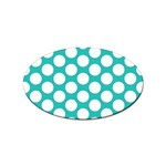 Turquoise Polkadot Pattern Sticker (Oval)