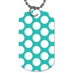 Turquoise Polkadot Pattern Dog Tag (One Sided)
