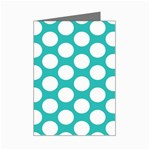 Turquoise Polkadot Pattern Mini Greeting Card (8 Pack)