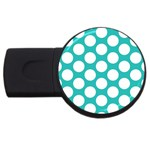 Turquoise Polkadot Pattern 2GB USB Flash Drive (Round)