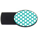 Turquoise Polkadot Pattern 2GB USB Flash Drive (Oval)