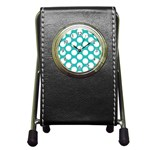 Turquoise Polkadot Pattern Stationery Holder Clock