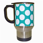 Turquoise Polkadot Pattern Travel Mug (White)