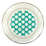 Turquoise Polkadot Pattern Porcelain Display Plate