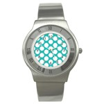 Turquoise Polkadot Pattern Stainless Steel Watch (Slim)