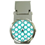 Turquoise Polkadot Pattern Money Clip with Watch