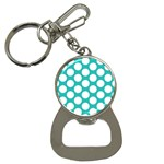 Turquoise Polkadot Pattern Bottle Opener Key Chain
