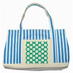 Turquoise Polkadot Pattern Blue Striped Tote Bag