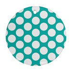 Turquoise Polkadot Pattern Round Ornament (Two Sides)